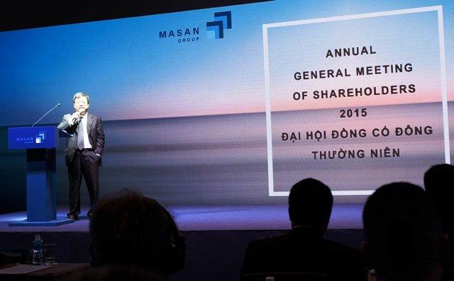 Ông Nguyễn Đăng Quang, Chủ tịch tập đoàn Masan phát biểu tại Đại hội đồng cổ đông thường niên 2015. Ảnh: Hồng Phúc (SaigonTimes)